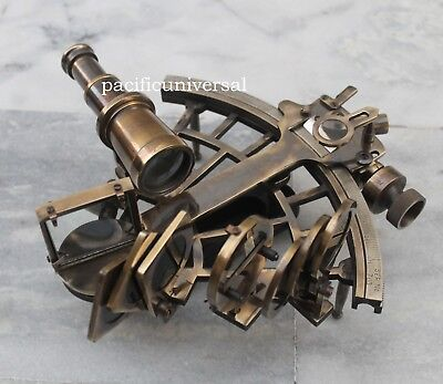 Antique Heavy Brass Vintage Working Sextant Collectible Astrolabe Sextant Xmas G