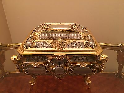 German Erhard and Sons Gilt Bronze And Silver Plated Jewelry Trinket Singing Box