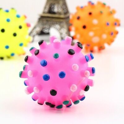 Fun Training Dispenser Rubber Colorful Sound Bite Funny Puppy Pet Dog Ball Toy