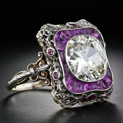 Amethyst & White Topaz 925 Silver Women Jewelry Wedding Engagement Ring Sz 5-10