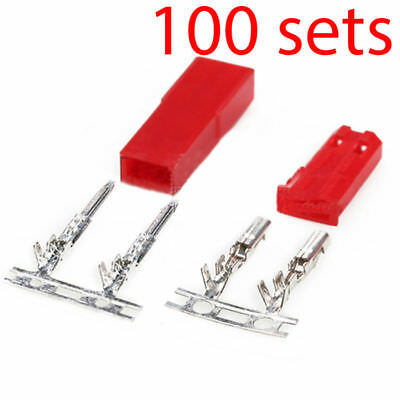 100 Sets R/C JST BEC Male Female Connector Battery Switch 2 Pin Plug Tin Plated