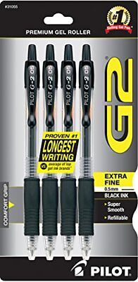 Pilot G2 Retractable Premium Gel Ink Roller Ball Pens Extra Fine Point 4-Pack