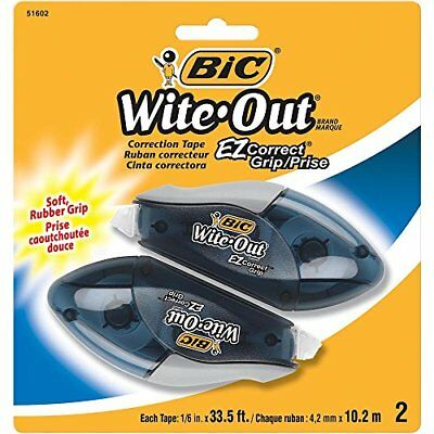 BIC WOECGP21 Wite-Out Brand EZ Correct Grip Correction Tape White 2-Count Fluid