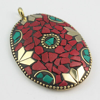 Turquoise Coral  Solid Brass Nepali Ethnic Pendant S0003