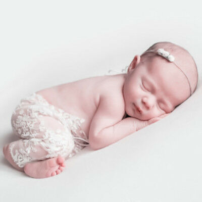 Newborn Baby Girl Lace Floral Romper Jumpsuit Hat Photo Prop Photography Costume