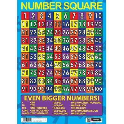 Educational Number Square Maths Poster Multi colour Number Square Numbers 1to100