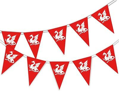 Happy St George Day - White English Dragon - National - Bunting Banner 15 flags