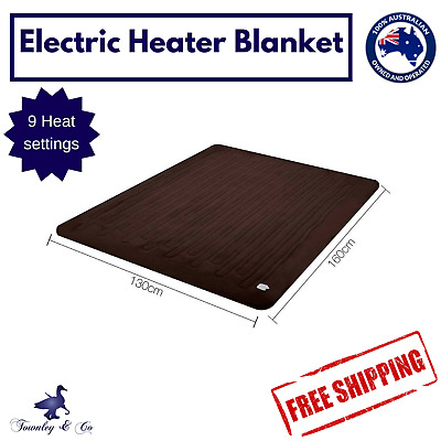 Electric Heated Throw Blanket Rug Brown Coral Fleece Washable
