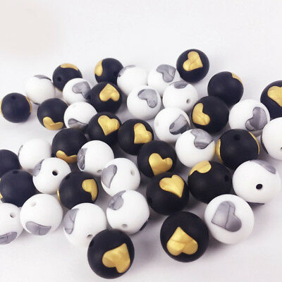 50Pcs Heart Round Silicone Beads DIY Teething Baby Chewable Jewelry Teether Make
