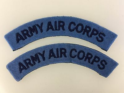 PAIR of Britain/British Army WWII 'Army Air Corps' cloth shoulder titles PAIR