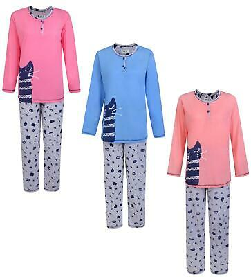 Ladies Pyjama Set Glamour Kitten Long Pyjamas Night Wear Uk 8-18 Bnwt