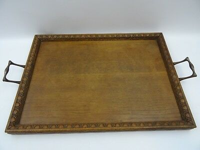 Antique Wooden Butlers Tray Galleried Engraved With Metal Handles