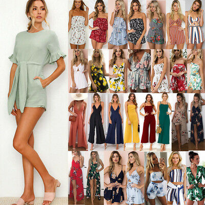 Ladies Women Summer Jumpsuit Party Short Sleeve Outfits Holiday Mini Playsuit UK
