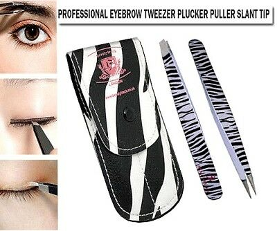 BeautyTrack Professional Eyebrow Tweezers Kit Slanted/Pointed Tip + Safety Pouch