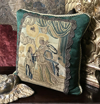 17th Century French Petit Point Emboidered Pillow Antique Needlework Cushion
