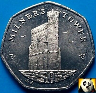 2004 Extremely Rare ISLE OF MAN 50p Pence Milner 's Tower Unc Uncirculated Coin