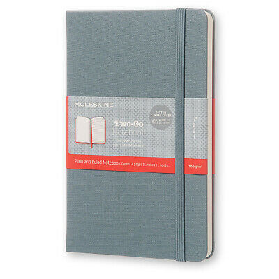 NEW Moleskine Two-Go Medium Canvas Saxe Blue Notebook