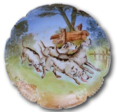 French Antique Hand Painted Hunting Hounds Dog Limoges Porcelain Wall Plate