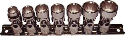 "T/&E Tools 7 Piece 3//8/"" Drive 12 Point SAE Universal Sockets 93806 NEW"