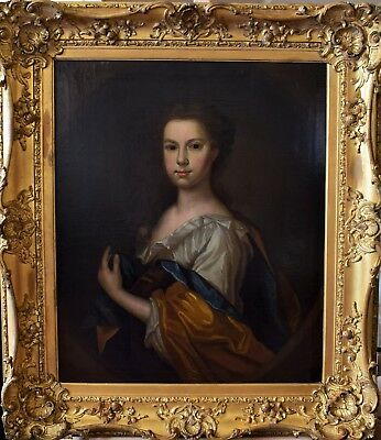 Very Fine 18Th Century English Old Master Oil On Canvas Portrait Of A Lady