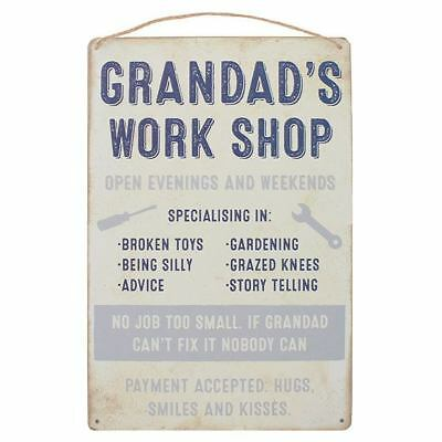 WTFGrandad/'s Workshop BLUE Metal Wall Sign Plaque Art Fathers Day Gift