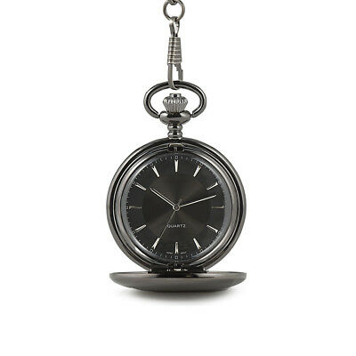 Pocket Watch Gunmetal Grey with Satin Finish and Black Dial