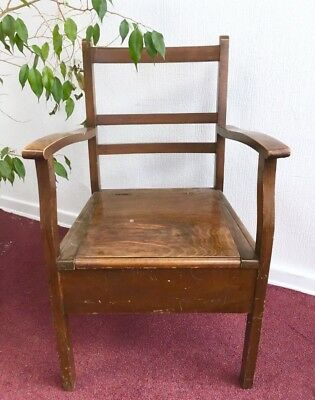 Antique Wooden Oak Commode Chair Chamber Pot Wood Potty Toilet Seat Box