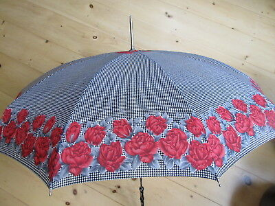 Vintage Ladies Umbrella Or Parasol- Black & White Checkered With Red Roses