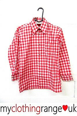 Boy's Vintage Bavarian Dagger Collar Shirt Red Checked Size Age 10 (140) Years