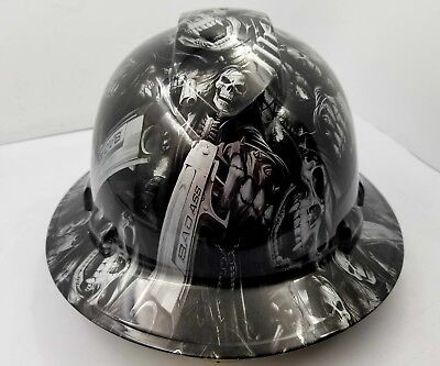 24d523a70bb FULL BRIM Hard Hat custom hydro dipped SILVER N BLACK GRIM REAPER SKULL SICK