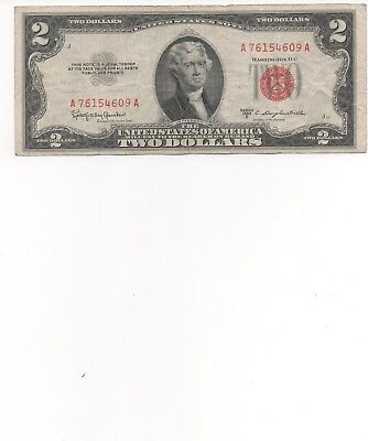 1953 $2 Dollar Bill Old Us Note Legal Tender Paper Money Currency G