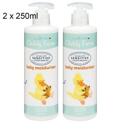 GENUINE  2 x Childs Farm Baby Moisturiser 250ml  Cream  Sensitive / Eczema skin