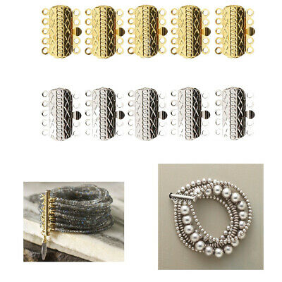 10pcs Brass Multi-strand Clasps 5 Strands Connectors Jewelry Making Beading
