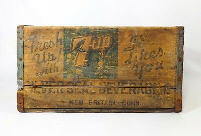 Rare Early 20Th C Vint 7-Up Soda Wood Box Crate W/stamped Ink/tin New Britain Ct