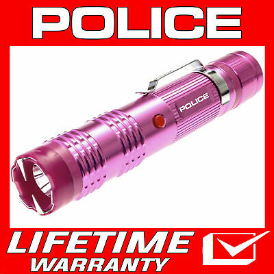 POLICE Stun Gun M12 Pink 58 Billion Max Volt Metal Rechargeable LED Flashlight