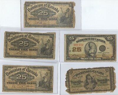 Canada Five Pcs. Fractional Currency (#91) Includes 1870B. Low Grade & Problems.