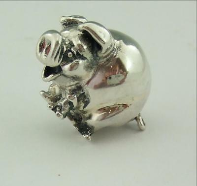 Vintage Small Solid Silver Model Of A Pig