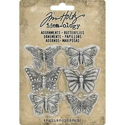 Tim Holtz Idea-Ology - Adornments - Butterflies - 6 Metal Charms - NEW!