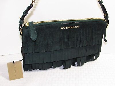 0041226a70ca Nwt Burberry Fringe Suede Peyton Wristlet Dark Forest Green Bag Retail  795