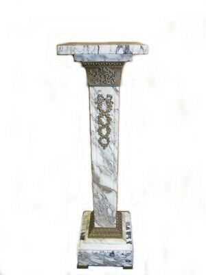 Antique French white marble & bronze pedestal # D8362