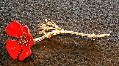 Beautiful Remembrance Fashion Red rose pin badge gold plated pin stem
