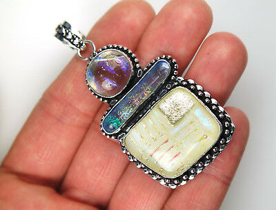 Opalescent Dichro Pendant, Sterling Silver, Dichroic Glass Opal White Blue Color