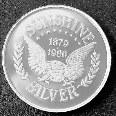 1980 Sunshine Silver 1 Troy oz .999 Fine Silver Proof Round J5
