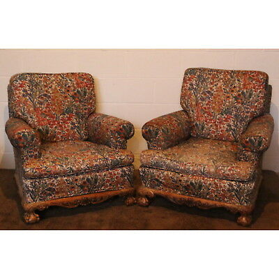 Large Pair of Late C19th Carved Walnut Open Armchairs, Great Shape Re-Upholstery