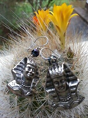 LUSH vintage Tutankhamun EARRINGS Egyptian Revival Pharaoh silver-plated hooks