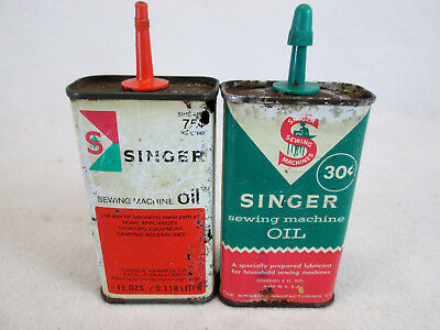 Vintage lot of 2 Singer Sewing Machine empty household, handy oil cans