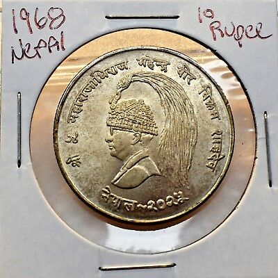 1968 Nepal 10 Rupee Silver Coin Fao In Uncirculated Condition