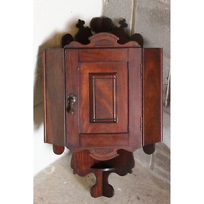 An Edwardian Carved Mahogany Wall Mounting Corner Cupboard of Cottage Size