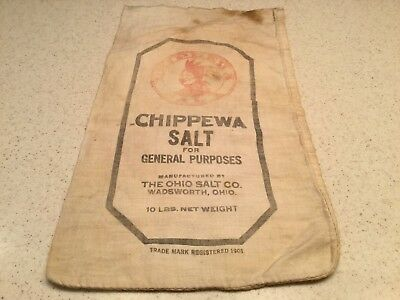 Vintage Advertising Cloth Bag Chippewa Salt Ohio Salt Co 10LBS Empty