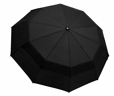 Umbrella Windproof Automatic Foldable Compact Travel Umbrella by Outdew (Black)